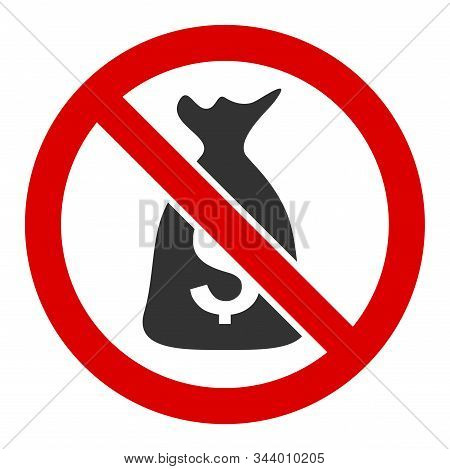 No funds vector icon. Flat No funds symbol is isolated on a white background. stock photo