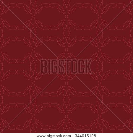 Seamless tiled arabic geometric abstract pattern in red burgundy with a pattern of twigs, leaves, lines, circles with the texture of fabric, textile, silk, wallpaper, gift wrapping paper, packaging stock photo
