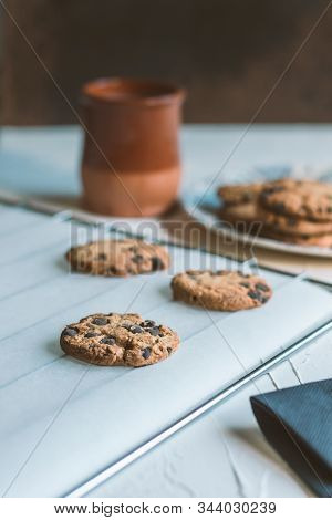 Oven grill with chocolate chips baked cookies stock photo