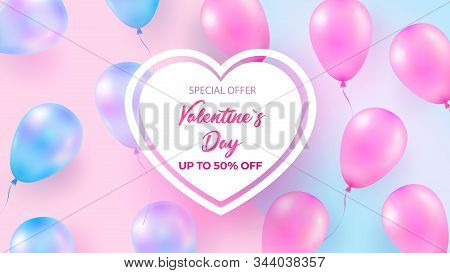 Festive background with helium balloons. Celebrate Valentine s Day, Birthday, Poster, Anniversary Banner, Sale. Realistic decorative design elements. 3d object Ballon with ribbon, pink and blue pearl color. stock photo