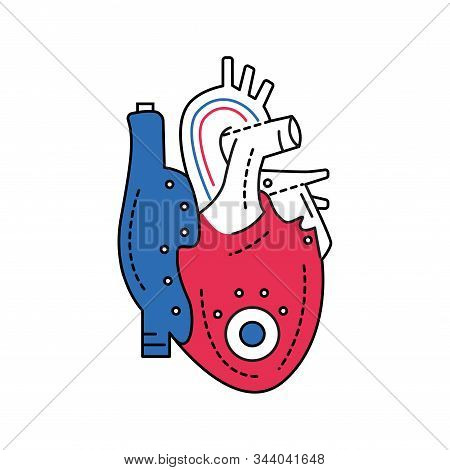 Bio artificial heart color line icon. Engineered heart. Contains the extracellular structure. Replaces an absent natural herart. Pictogram for web page, mobile app, promo. Editable stroke. stock photo