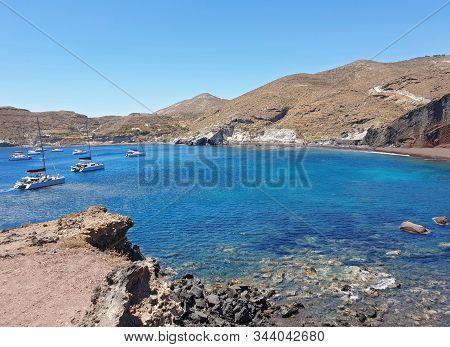 landscape of Aegean sea at Santorini island Cyclades Greece stock photo