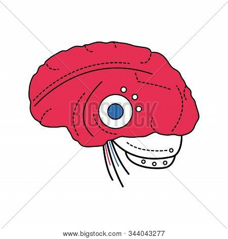 Bio artificial brain color line icon. Software and hardware with cognitive abilities similar to those of human brain. Pictogram for web page, mobile app, promo. Editable stroke. stock photo