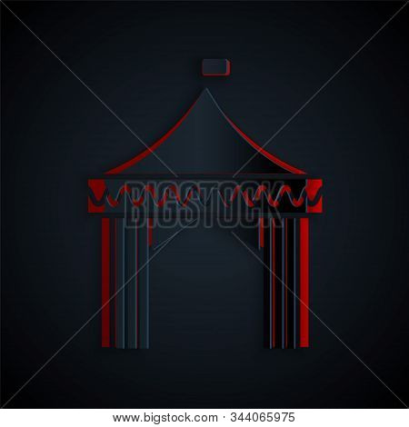 Paper cut Camping tent icon isolated on black background. Carnival camping tent. Amusement park. Paper art style. Vector Illustration stock photo