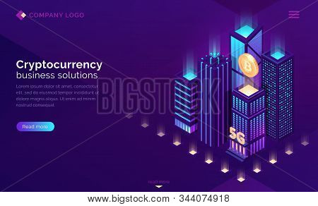 Cryptocurrency business solutions isometric landing page. Huge bitcoin hanging above neon glowing skyscraper buildings, 5G mining blockchain futuristic technology 3d vector illustration, web banner stock photo