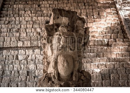 Detail of the most important figure of Copan Ruinas temples. Honduras stock photo