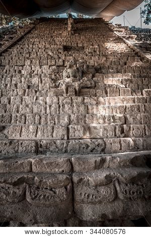 The stairs full of drawings of the temples of Copan Ruinas. Honduras stock photo