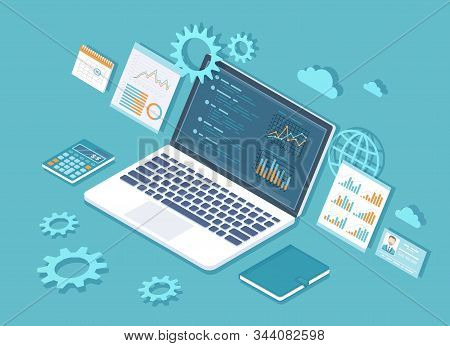 Data analysis, analytics, statistics, audit,  research, report, business results. Web and mobile service. Financial reports, charts graphs on screen of laptop. Business 3d isometric illustration stock photo