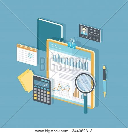 Financial document with graphs and charts on clipboard, calculator, glasses, magnifier, calendar, pen, business card. Audit, report, analysis, research, planning, accounting, calculation Isometric 3d stock photo
