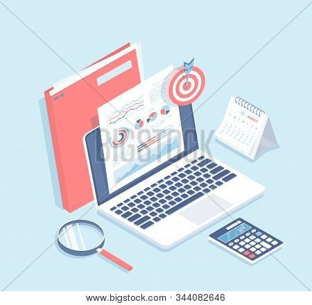 Auditing, analysis, accounting, calculation, analytics. Documents with charts graphs on the laptop screen, folder, magnifying glass, calculator, calendar, target. Isometric 3d vector illustration stock photo