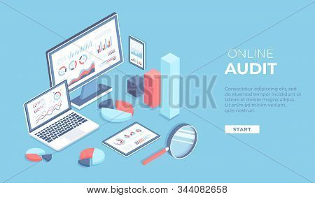 Online audit, research, report, analytics, analysis concept. Web and mobile service. Charts graphs on screens of laptop, monitor, phone, tablet with magnifying glass. Isometric 3d vector background stock photo