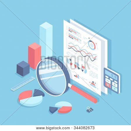 Business auditing, analysis, accounting, calculation, analytics. Documents with charts and graphs for review. Documentation, magnifying glass, calculator. Financial report. Isometric 3d stock photo