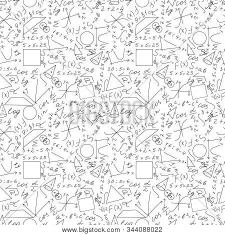 Math, physics seamless pattern on white background. Mathematical formulas, hand drawing line. Doodles. School records. Suitable for fabric and scrapbooking. Vector illustration stock photo