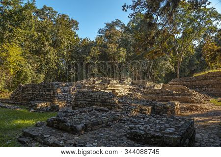 Temples of Copan Ruinas in something in poor condition and its natural environment. Honduras stock photo