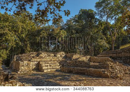 Temples of Copan Ruins in some bad condition. Honduras stock photo