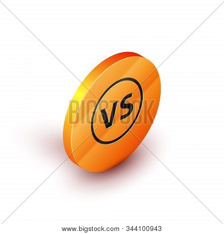 Isometric VS Versus battle icon isolated on white background. Competition vs match game, martial battle vs sport. Orange circle button. Vector Illustration stock photo