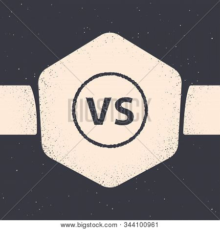 Grunge VS Versus battle icon isolated on grey background. Competition vs match game, martial battle vs sport. Monochrome vintage drawing. Vector Illustration stock photo