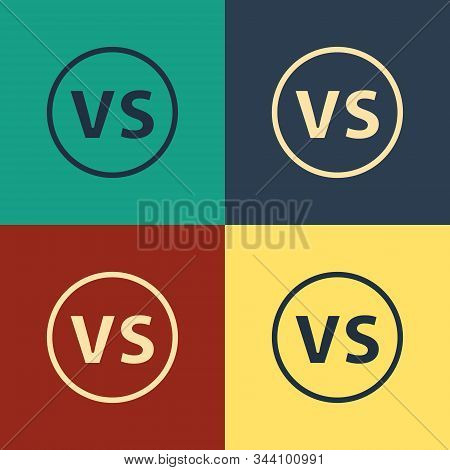Color VS Versus battle icon isolated on color background. Competition vs match game, martial battle vs sport. Vintage style drawing. Vector Illustration stock photo