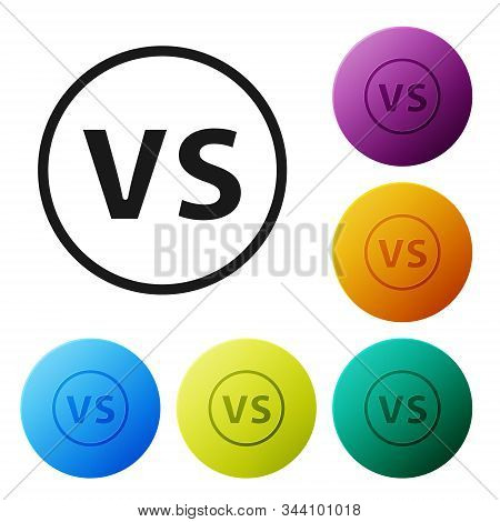 Black VS Versus battle icon isolated on white background. Competition vs match game, martial battle vs sport. Set icons colorful circle buttons. Vector Illustration stock photo