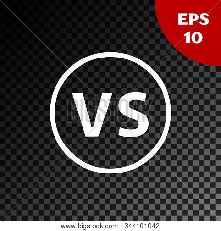 White VS Versus battle icon isolated on transparent dark background. Competition vs match game, martial battle vs sport. Vector Illustration stock photo