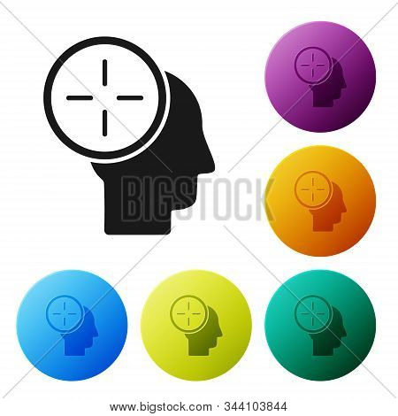 Black Head hunting concept icon isolated on white background. Business target or Employment. Human resource and recruitment for business. Set icons colorful circle buttons. Vector Illustration stock photo