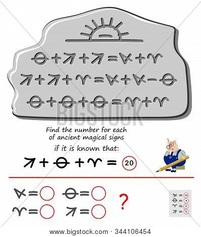 Mathematical logic puzzle game for children and adults. Find the number for each of ancient magical signs. Printable page for brain teaser book. Developing kids counting skills. IQ test. stock photo