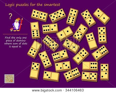 Logic puzzle game for children and adults. Find the only one piece of domino where sum of dots is equal to 6. Printable page for kids brain teaser book. Developing mathematical skills. IQ test. stock photo