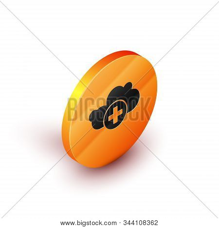 Isometric Add cloud icon isolated on white background. Data storage on the cloud. Orange circle button. Vector Illustration stock photo
