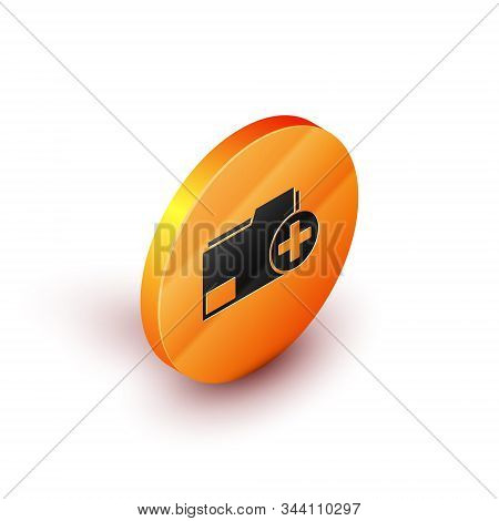 Isometric Add new folder icon isolated on white background. New folder file. Copy document icon. Add attach create folder make new plus. Orange circle button. Vector Illustration stock photo