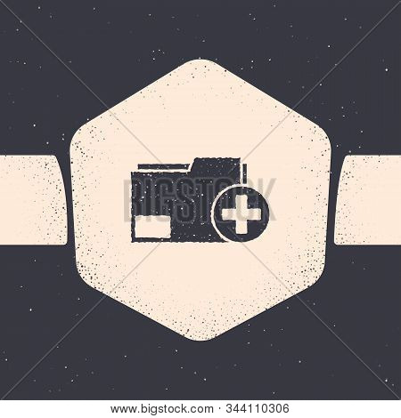 Grunge Add new folder icon isolated on grey background. New folder file. Copy document icon. Add attach create folder make new plus. Monochrome vintage drawing. Vector Illustration stock photo