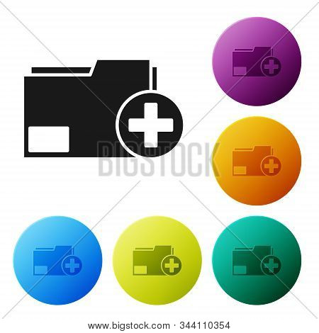 Black Add new folder icon isolated on white background. New folder file. Copy document icon. Add attach create folder make new plus. Set icons colorful circle buttons. Vector Illustration stock photo