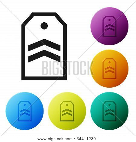Black Chevron icon isolated on white background. Military badge sign. Set icons colorful circle buttons. Vector Illustration stock photo