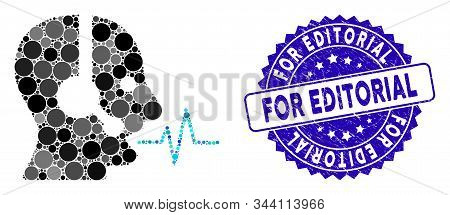 Mosaic operator speech icon and corroded stamp watermark with For Editorial caption. Mosaic vector is formed with operator speech icon and with random circle items. stock photo