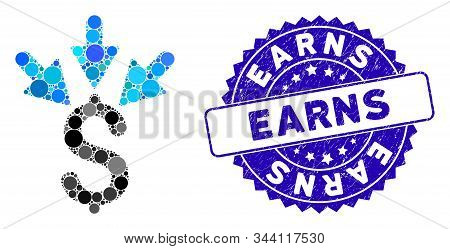 Mosaic aggregate payment icon and rubber stamp seal with Earns phrase. Mosaic vector is created with aggregate payment icon and with scattered spheric spots. Earns seal uses blue color, stock photo