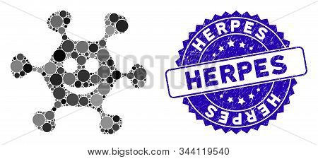 Mosaic happy microbe icon and rubber stamp seal with Herpes text. Mosaic vector is composed with happy microbe pictogram and with random round items. Herpes seal uses blue color, and rubber surface. stock photo