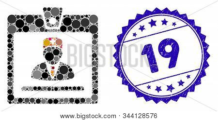 Mosaic doctor badge icon and corroded stamp watermark with 19 caption. Mosaic vector is formed with doctor badge icon and with scattered spheric spots. 19 stamp uses blue color, and dirty texture. stock photo
