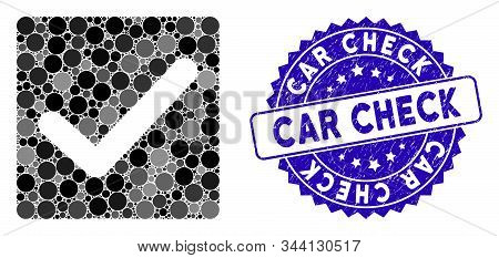 Mosaic check icon and distressed stamp seal with Car Check caption. Mosaic vector is designed with check icon and with scattered spheric items. Car Check stamp uses blue color, and scratched surface. stock photo