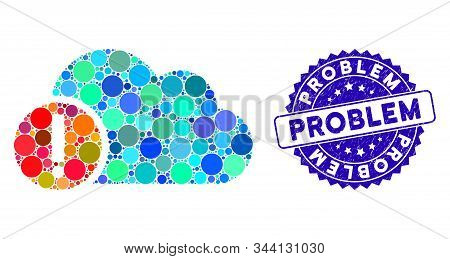 Mosaic problem icon and rubber stamp seal with Problem text. Mosaic vector is formed from problem icon and with randomized round spots. Problem stamp seal uses blue color, and rubber texture. stock photo