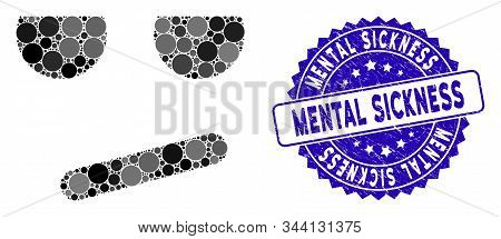 Collage bored smiley icon and rubber stamp seal with Mental Sickness phrase. Mosaic vector is formed with bored smiley pictogram and with random circle items. Mental Sickness seal uses blue color, stock photo