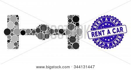 Mosaic axle icon and rubber stamp seal with Rent a Car phrase. Mosaic vector is composed from axle icon and with scattered circle spots. Rent a Car stamp seal uses blue color, and grunged texture. stock photo