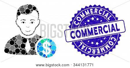 Mosaic commercial lawyer icon and distressed stamp seal with Commercial caption. Mosaic vector is created with commercial lawyer pictogram and with random circle elements. stock photo