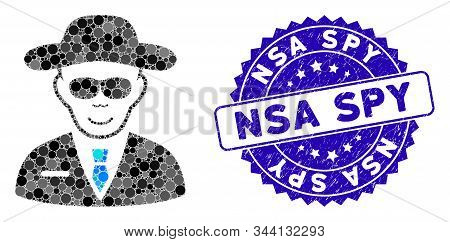 Mosaic spy icon and grunge stamp seal with NSA Spy caption. Mosaic vector is created with spy icon and with randomized round elements. NSA Spy stamp seal uses blue color, and dirty design. stock photo