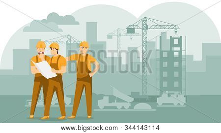 Engineers and builders are planning work on a construction site. Builders are looking at the drawing. Builders are looking at the construction plan of the building. Vector, cartoon stock photo