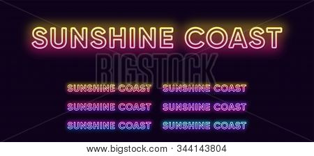 Neon Sunshine Coast name, city in Australia. Neon text of Sunshine Coast city. Vector set of glowing headlines with transparent backlight. Bright gradient colors stock photo