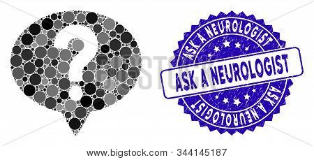Mosaic ask icon and rubber stamp seal with Ask a Neurologist text. Mosaic vector is formed with ask pictogram and with random round items. Ask a Neurologist stamp uses blue color, and rubber texture. stock photo