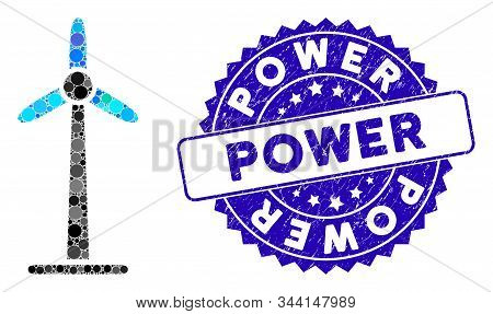 Mosaic wind power generator icon and corroded stamp watermark with Power phrase. Mosaic vector is formed with wind power generator icon and with random circle elements. stock photo