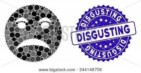 Mosaic angry smiley icon and rubber stamp seal with Disgusting text. Mosaic vector is designed with angry smiley pictogram and with randomized round spots. Disgusting stamp seal uses blue color, stock photo