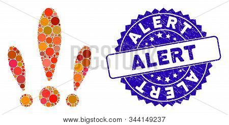 Mosaic alert icon and grunge stamp watermark with Alert phrase. Mosaic vector is designed with alert icon and with random spheric items. Alert stamp uses blue color, and grunge surface. stock photo