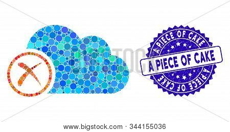 Mosaic erase icon and corroded stamp watermark with A Piece of Cake caption. Mosaic vector is designed with erase icon and with scattered circle elements. A Piece of Cake stamp uses blue color, stock photo