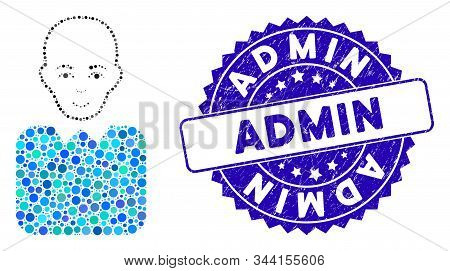 Mosaic bald bureaucrat icon and distressed stamp watermark with Admin caption. Mosaic vector is composed with bald bureaucrat icon and with randomized spheric spots. Admin stamp seal uses blue color, stock photo